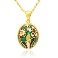 множественные ожерелья шарма оптовых-рука цвет эмали ВАЗа цветок кулон несколько Кристалл проложили очарование ожерелье Фаберже яйцо кулон на Пасху День
