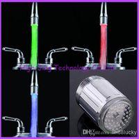 Wholesale Led Sensor Taps - Fashion Water Glow LED Faucet Stream Light Temperature Sensor Safety Environmental Protection Shower led tap lights