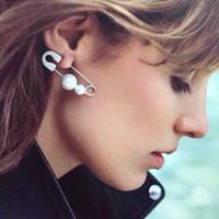 Wholesale Pearl Clip Earrings White - 2016 New Big Fashion Earrings For Women Pearl Branded Stud Earrings Crystal Rhinestone Paper Clip Earrings