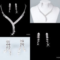 Wholesale Necklace Sparkling Earrings - Sparkle Bridal Jewelry Crystal Rhinestones Bride Prom Wedding Jewellery Sets 2015 Necklace Drop Earrings Bridal Accessories 15023