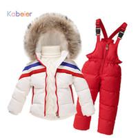 Wholesale Overall Ski - Wholesale- ski suit for girls boys winter striped clothing set cardigan down coat+overalls sport suit 2016 girls winter set child costume