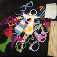ingrosso feste di cerimonia nuziale divertenti-All'ingrosso Colorful Fun Lip decorazione di nozze Photo Booth Puntelli decorazione della festa nuziale favori maschere di partito 60Pcs / Set