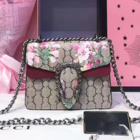 Wholesale Famous Artwork Prints - women luxury brand blooms printing shoulder bags Sylvie suede bag Genuine Leather handbags famous brand designer chain crossbody bag