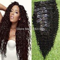 человеческий волос продажа оптовых-Продажа топ мода бразильского Виргинские волос Вьющиеся клип в наращивание волос 9шт/набор афро-американских клип в расширениях человеческих волос
