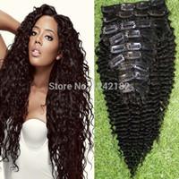 vente américaine cheveux humains achat en gros de-Vente Top Fashion brésilien Virgin Hair Curly Clip Dans Extensions de Cheveux 9Pcs / set clip afro-américain en extensions de cheveux humains