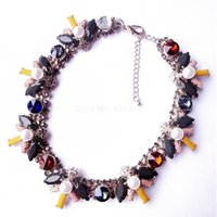 Wholesale Mixed Collar Necklace - Free Shipping Wholesale Fashion Statement Necklace, Collar Choker Necklace, Short Mixed Color Handmade Necklace, Rhinestone Prong Necklace