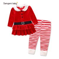 Wholesale Cotton Corduroy Girl Dress - Autumn Christmas Children Clothing Girl Set Red Corduroy dress Striped Legging Suit Kids Clothes Girls Clothing Sets Gift free shipping