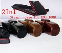 Case Cover Bag Leather Camera 2in1 PU adatta per Canon EOS 100D EF-S STM lente DSLR Camera + Weave Strap Ricamo 18-55 mm