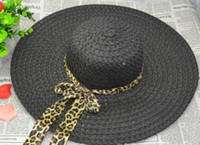 Wholesale Fold Sun Hats - ladies Summer Wide Brim Hats bow ribbon along the beach hat straw hat sun hat large brimmed hat folding hat hollow