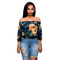 Wholesale Flower Blouse Puff Sleeves - 2016 New Autum Spring Women Chiffon Blouse High-grade Printing Sexy Off Shoulder Tops Long Sleeve Fashion Flower Shirt Women Clothing