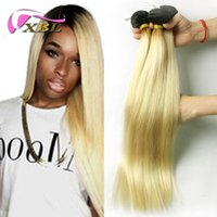 Wholesale Dye Colors For Hair - virgin peruvian hair straight two color for ombre blonde straight human hair weave xbl hair free shipping