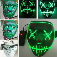Wholesale Glow Masks - Led Halloween Ghost Masks The Purge Election Year Mask EL Wire Glowing Mask Neon 3 Models Flashing Party Scarey Horror Terror Full Face Mask