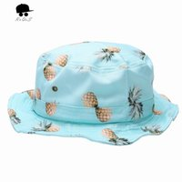 Wholesale Banana Bob - Wholesale-Summer Style Hot Fishing Sun Hat Pineapple Banana Design Fisherman Panama Cap Bob Chapeau Brand Cotton Bucket Hat Hip Hop P123