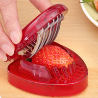 Wholesale Gadgets Strawberry Slicer - 100pcs Wholesale New Strawberry Slicer Kitchens Cooking Gadgets Accessories Supplies Fruit Carving Tools Salad Cutter ZA0359