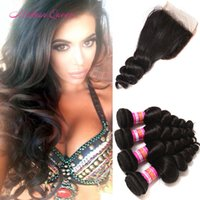 Indian Loose Wave Cheveux Humains Paquets Avec Lace Closure Fashion Show Raw Indian Cheveux En Gros Tissage 4Bundles Et Fermeture Pour La Vente Big Discount