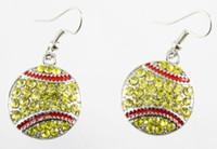 Wholesale Hook Brass Earring - 2017 sports softball drip red heart citrine earrings swinging hook nail 15 mm softball and baseball shaped jewelry cute earrings hemisph