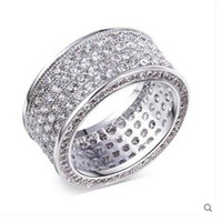 Wholesale Ladies Finger Ring Gold - Women's Luxurious Pave setting full CZ gemstone Rings finger Lady 10KT white gold filled Cocktail Jewelry wedding ring