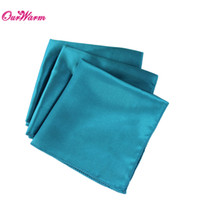 "Wholesale Teal Blue Party Decorations - 100 pcs lot Teal Blue Satin Table Dinner Napkin 12"" Square Men Pocket Handkerchief wedding decoration event party supplies"