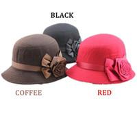 Wholesale Purple Cloche Hat - Women Ladies bowler hat Cloche Flower Rose Bucket Hat Fashion Elegant Headwear Gray High Quality Saida De Praia fisherman caps