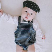 Wholesale T Shirt Size Cm - INS new arrivals fall baby kid climbing romper 100% cotton white t shirt + plaid romper sets boy kids fall baby romper sets 0-2T