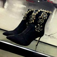 Wholesale 2016 New Top Quality Pointed Toe Women Cm Thin Heels Sexy fashion design Rhinestone Women Winter Autumn Boots Retro Women shoes