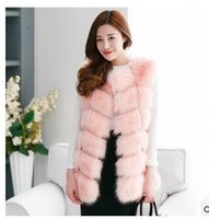 Wholesale Ladies Mink Jackets - Winter Women Plus Size Faux Fur Coat Fashion Long Mink Vest Jackets Wholesale Fox Fur Vest Ladies Outwear For Women Free Shipping