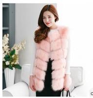 chaleco de visón mujer al por mayor-Invierno de las mujeres más tamaño abrigo de piel sintética moda larga visón chaleco chaquetas venta al por mayor Fox piel chaleco Outwear para mujeres envío gratis