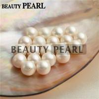 perlas redondas blancas de agua dulce sueltas al por mayor-Venta al por mayor 30 piezas perlas blancas redondas de agua dulce Perlas sueltas Perla cultivada medio perforado o sin perforar 9-9.5mm
