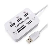 lectores usb al por mayor-Alta calidad Nuevo Micro USB Hub Combo 2.0 3 puertos Lector de tarjetas de alta velocidad Multi USB Splitter Hub USB Combo todo en uno para PC PC DHL