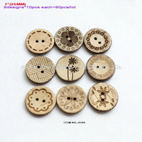 Wholesale Assorted Necklace Designs - (9 designs,90pcs lot) 2 Hole Natural Coconut Buttons Crafts Necklace Assorted Sewing Buttons 25mm -ZH04