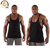 Wholesale Wholesale Blank Tanks - Wholesale-Mens Singlet Y Back Muscle Singlets Mens Y back Tank Tops Mens Gym Singlets Gym Stringer Blank Cotton Stringer Free Shipping