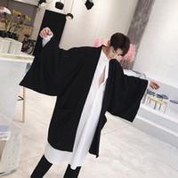 Wholesale Japanese Style Jackets - Wholesale- Men Japanese Harajuku Street Fashion Wide Sleeve Kimono Cardigan Trench Coat Male Hip Hop Loose Long Windbreaker Jacket