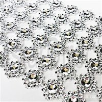 Plata 1 yarda 6rows Daisy Flower Diamante Malla Bling Crystal Ribbon Wrap Trim Wedding Cake Candle Holder Decoración Casamento