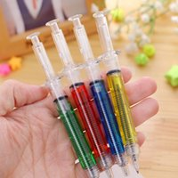 Wholesale Novelty Liquid Syringe Ballpoint Pen - 4pcs lot Liquid Novelty Syringe Ballpoint Pen Stationery Cute Syringe Ballpoint Pen Office Supplies Child Gift 2016 fashion accessor pens