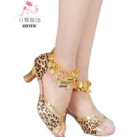 Wholesale Classic Latin Dancing Shoes - 2016 women's Latin dance shoes adult women's high-heeled summer the square dance shoes sandals isointernational free shipping