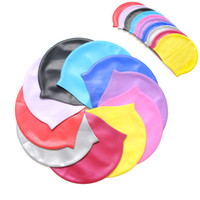 Wholesale 50pcs Food Grade Flexible Silicone Swimming Cap Keep Your Long Hair Healthy Clean While Swimming Fits Kids Men Women