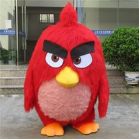 Wholesale adult fur red big bird mascot costumes animal fancy dress for party good quality can be customized