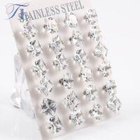 Wholesale Earring Big For Party - TL Stainless Steel Stud Earrings Pure Clear Big Cubic Zircon Fashion Earrings For Women Korean Crystal Earrings Party Jewelry