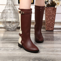 Wholesale Buckled Knee High Boots - Designer Brand Winter Boots Buckle Genuine Leather Chunky Heel Knee High Boots for Women Shoes Martin Boot Sz 35-40