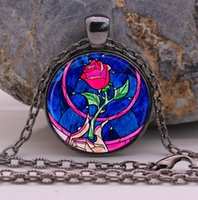 Wholesale Rose Cabochon White - 2016 NEW ARRIVED Flowers Rose necklace Beauty and the Beast jewelry Cothic Glass Photo Cabochon Necklace pendant Jewellery Gifts
