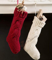 Wholesale Crochet Christmas Bag - Christmas Stockings Crochet Knitted Leg Warmers Xmas Long Socks Festival Candy Gifts Bags Tree Decorations Outdoor Christmas Decorations D64