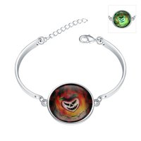 Wholesale Glow Dark Glasses Wholesale - Halloween! Horrible Pumpkin Lantern Glow in the Dark Luminous Noctilucence Charms Bracelet Silver Plated Blue Glass Dome Adjustable Bracelet