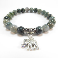Wholesale Zen Jewelry Wholesale - SN1120 Sacred Elephant Mala Bracelet Healing Mala Yoga Jewelry Moss Agate Zen Beaded Bracelet Best Christmas Gift