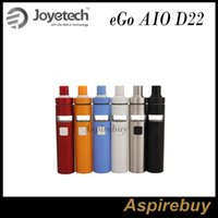 Wholesale Glasses Metal Style - Joyetech eGo AIO D22 Kit All-In-ONE Style 1500mah Battery 2ML Capacity E-juice Top-cap Filling Colorful Light for Ejuice Glass 100% Original