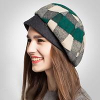 Wholesale Beret Winter Girl - High-end Fashion Winter Womens Warm Wool Beret French Artist Plaid Beanie Hat Ski Cap Hat