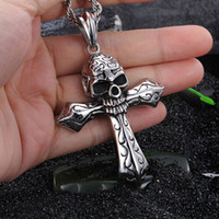 "Wholesale Skull 316l - Cool Jewelry Vintage Men 316L Stainless steel Large Biker Cross Skull Punk Design Necklace Pendant 4mm* 22"" Twisted Rope Chain"