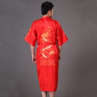 Wholesale-Plus Size S-XXXL roten Männer Drache-Robe-Kleid Chinese Male Satin Nachtwäsche Bademantel Traditionelle Stickerei Kimono Yukata MP040