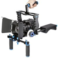 Wholesale Camera Shoulder Rig Focus - Professional DSLR Rig Shoulder Video Camera Stabilizer Support Film Movie Cage Matte Box Follow Focus For Canon Nikon Sony Camera Camcorder