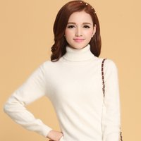 Wholesale Cashmere Sweaters Women S Clothing - Wholesale-Women Sweater 100% Cashmere Knitted Sweater Winter Turtleneck Warm Sweaters for Ladies Pullvoer Hot Sale Goat Cashmere clothes