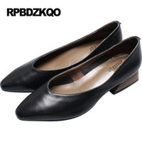 Wholesale Women Discount Gloves - Size 4 34 Discount Chunky Pointed Toe Shoes Leather Pumps Low Heels 2017 High Retro Black Abnormal Women Genuine Glove Spring